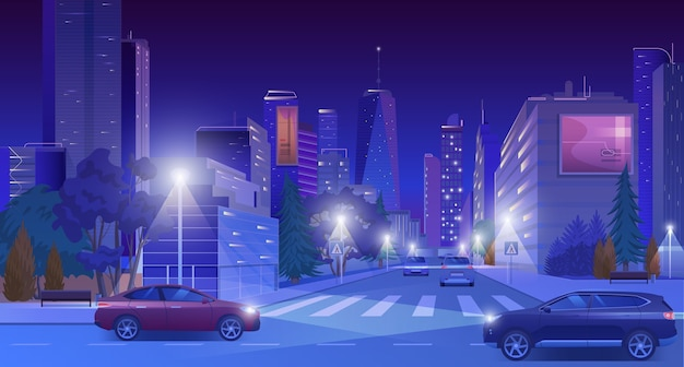 City downtown street at neon night with cars, nightlife landscape Premium Vector