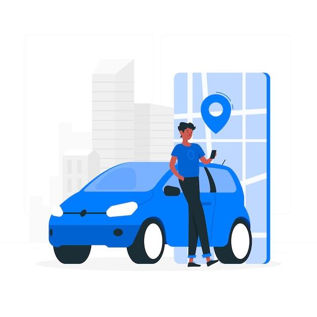 City driver concept illustration Free Vector