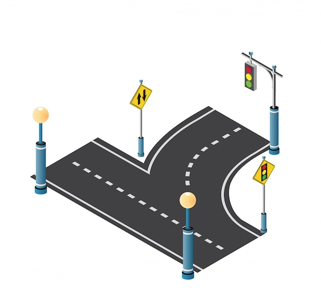 City driveway street with road Premium Vector