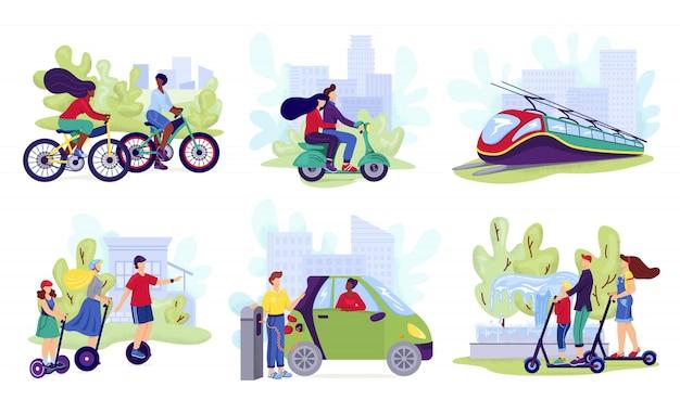 Комплект городского электротранспорта, иллюстрация. люди катаются на современных электросамокатах, автомобилях, велосипедах, скейтбордах или сигвеях. экологичная альтернативная технология, сбор транспортных средств. Premium векторы