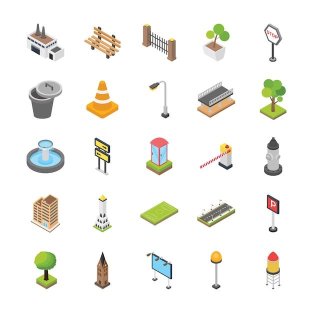 City elements isometric icons Premium Vector