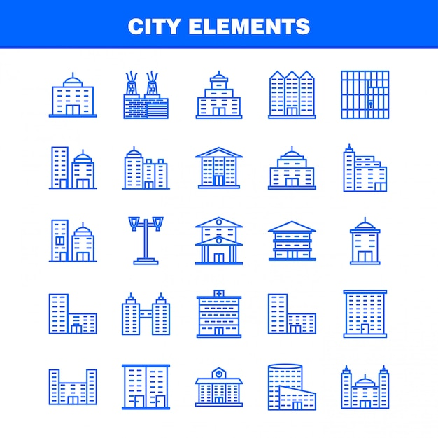 City elements line icons set for infographics, mobile ux/ui kit Premium Vector