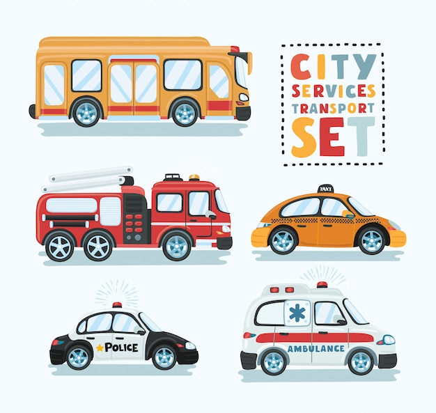 City emergency transport  set. ambulance car, tow truck, school bus, police car, fire truck  illustration. service auto vehicle, urban social car, roadside assistance transport. Premium Vector