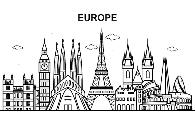 City in europe tour cityscape skyline line outline Premium Vector