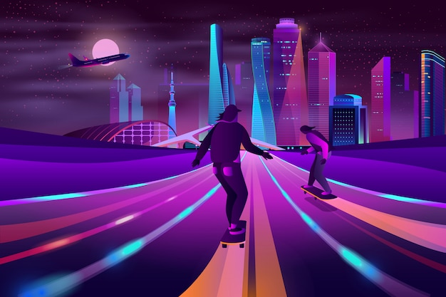 City extreme sports neon cartoon Free Vector