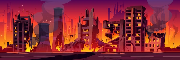 Città in fiamme, la guerra distrugge edifici rotti in fiamme Vettore gratuito