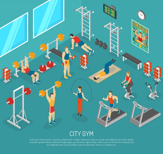 City fitness gym center isometric poster Free Vector