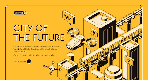 City of future isometric vector web banner, landing page template. Free Vector