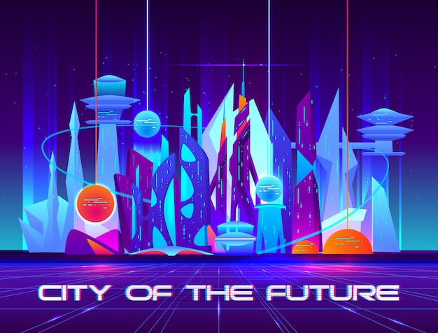 City of future at night with vibrant neon lights and shining spheres. Free Vector
