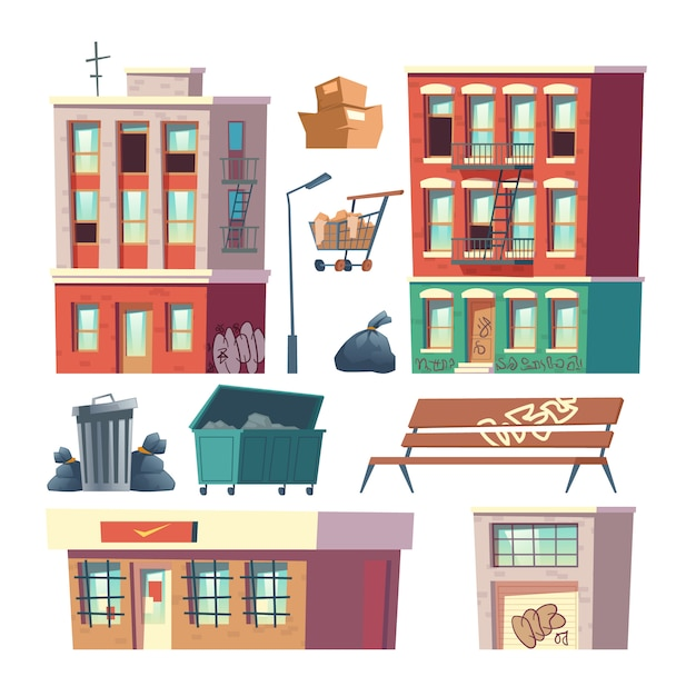 City ghetto architecture elements cartoon vector Free Vector