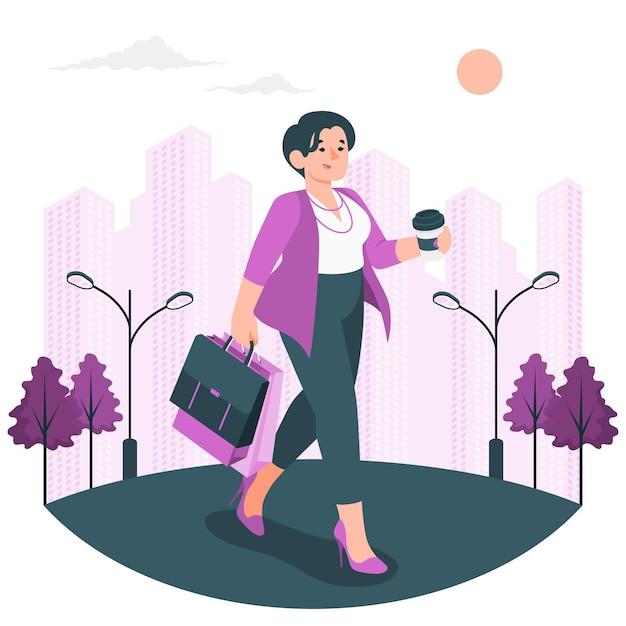 Иллюстрация концепции девушки города Бесплатные векторы