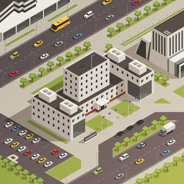 City government buildings isometric Free Vector