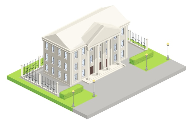 City hall parliament isometric illustration Free Vector