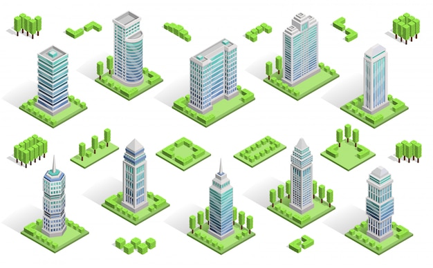 City houses composition Free Vector