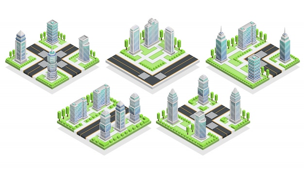 City houses isometric composition Free Vector