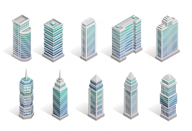City houses set Free Vector