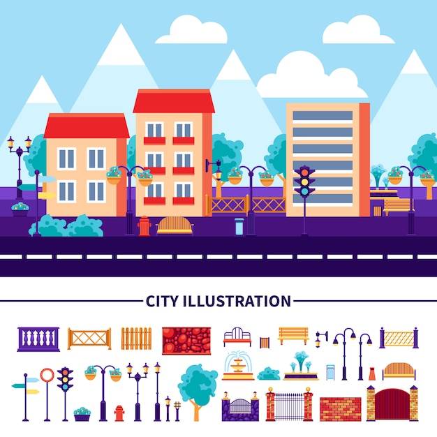 City illustration icons set Free Vector