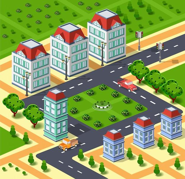 City illustration with urban infrastructure. isometric city. isometric view Premium Vector
