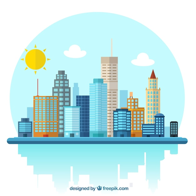 City illustration Free Vector