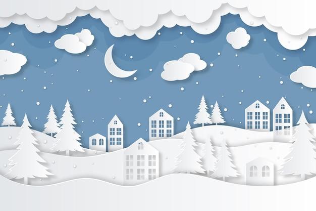 紙のスタイルの背景の冬の街 無料ベクター