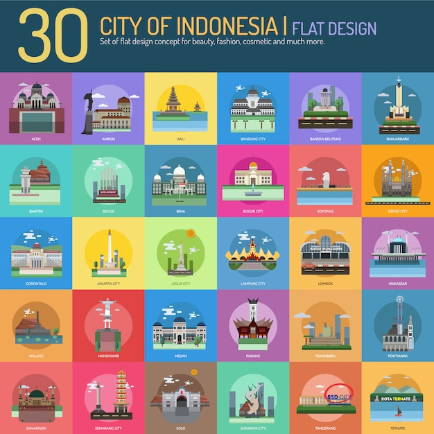 City On Indonesia Landscape Collection Vector  Free Download-7015