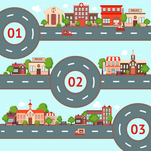 City infographic illustration set Free Vector