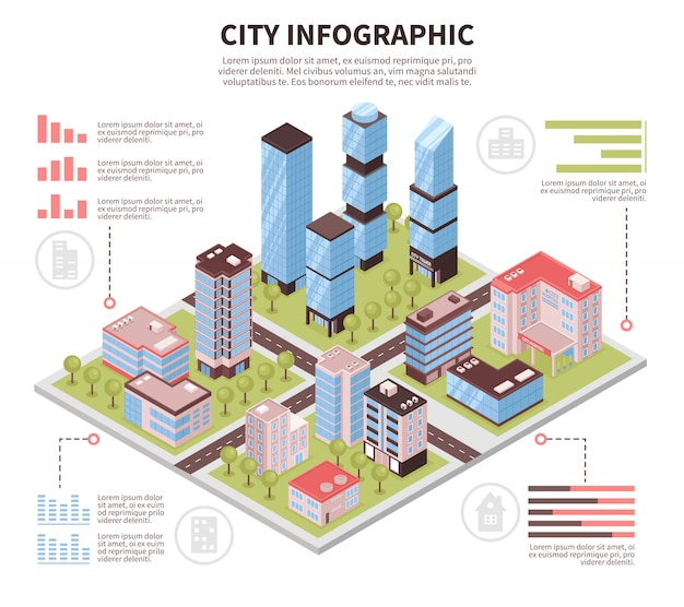 City infographic poster isometric Free Vector