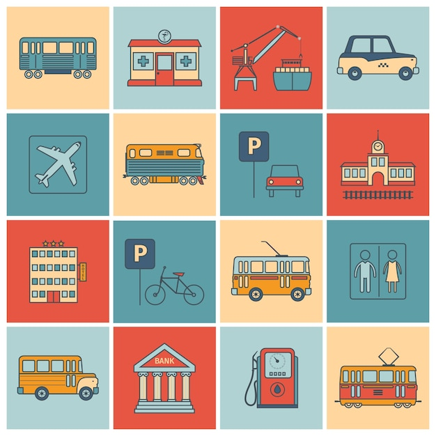City infrastructure icons Free Vector