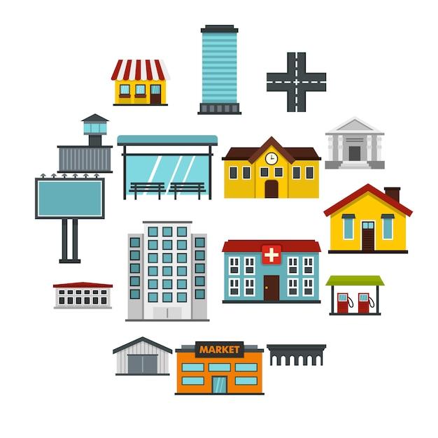 City infrastructure items set flat icons Premium Vector