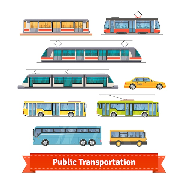 City and intercity transportation vehicles set Free Vector