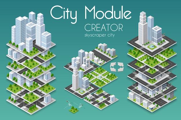 City isometric concept of urban infrastructure business Premium Vector