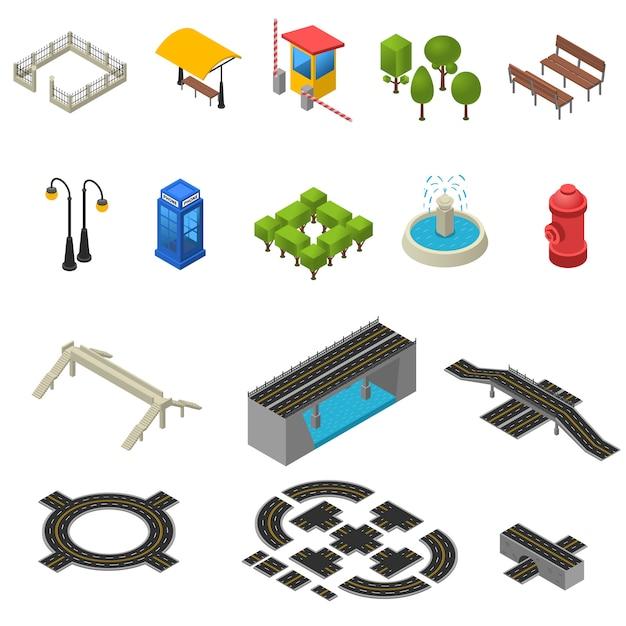 City isometric icons set Free Vector