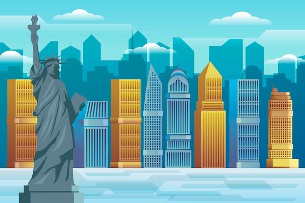 街のランドマーク背景ビデオ会議 無料ベクター