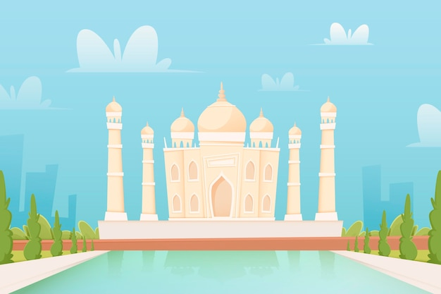 City landmarks - background for video conferencing Free Vector