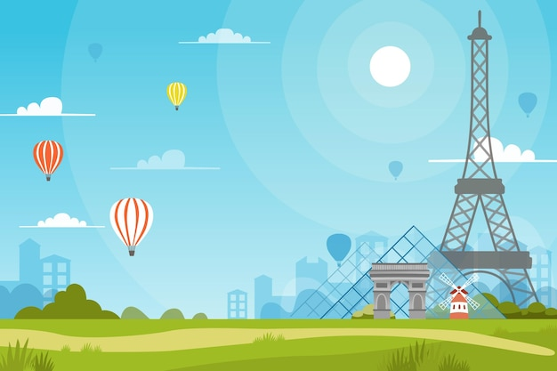 City landmarks wallpaper for video conferencing Free Vector