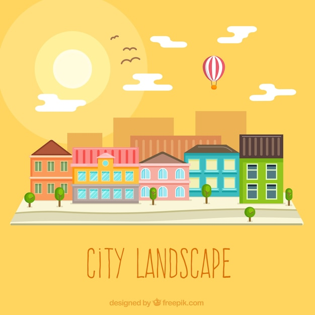 City landscape at sunset in flat design