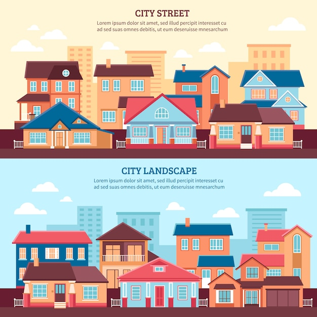 City landscape flat banners Free Vector