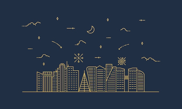 City landscape illustration with a thin line style. thin line city landscape. Premium Vector