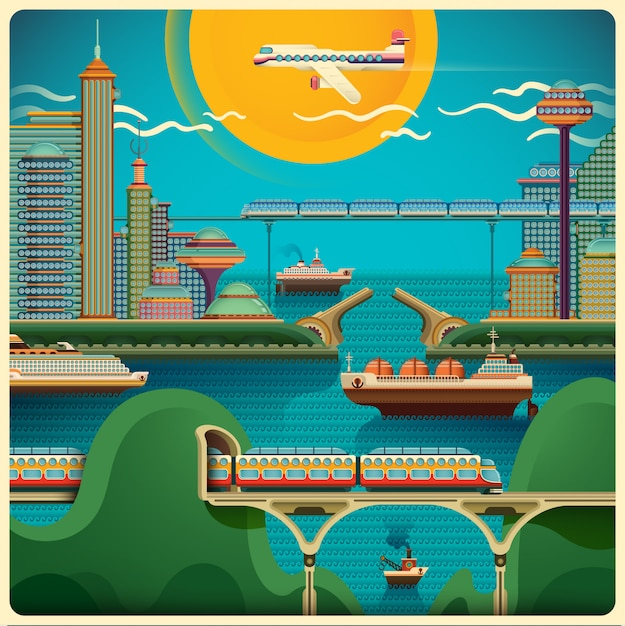 City landscape illustration Premium Vector