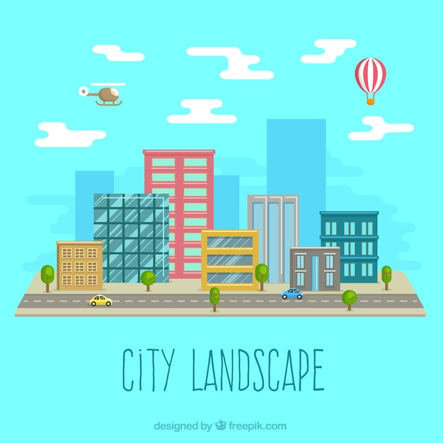 City landscape in flat design vector free download for Landscape design icons