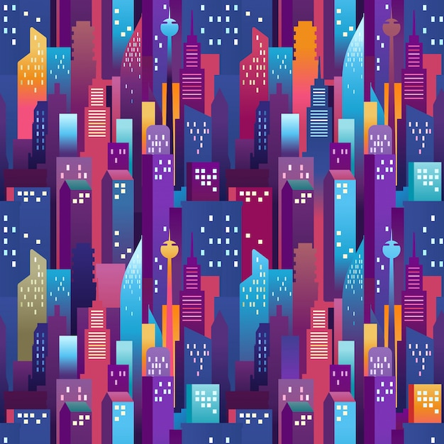 City landscape seamless pattern. modern downtown with color skyscrapers Premium Vector