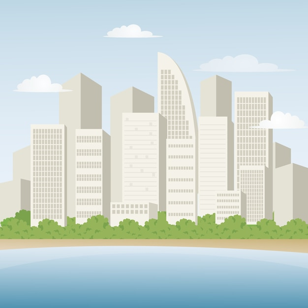 City landscape with beach view, vector illustration ...
