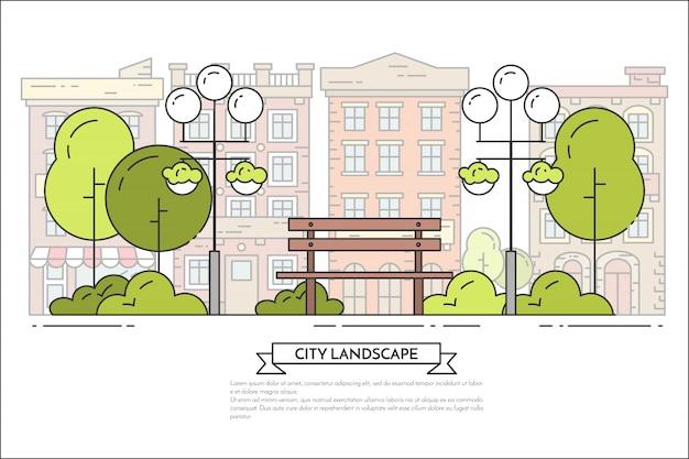 City landscape with bench, lamps in public park. Premium Vector