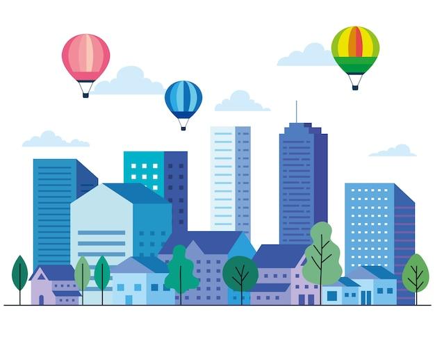 建物のある都市景観には、熱気球の木と雲のデザイン、建築、都市のテーマがあります Premiumベクター