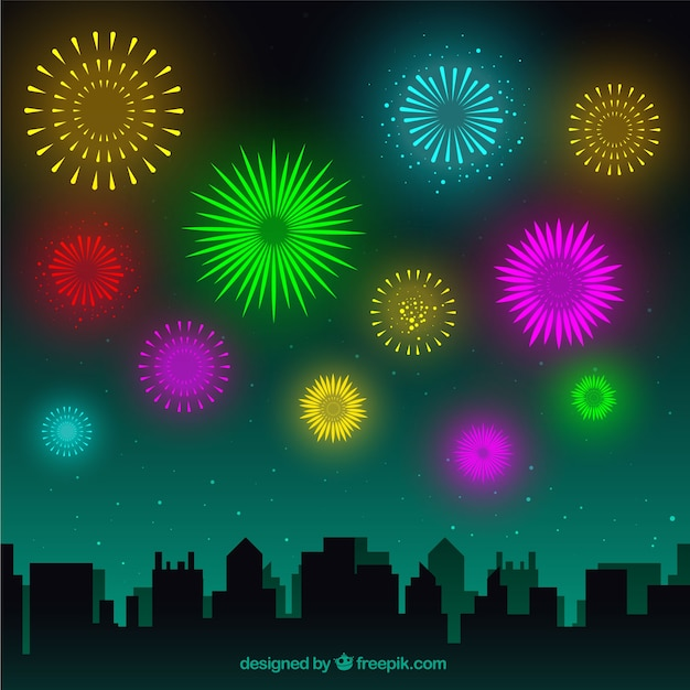 City landscape with colorful firework