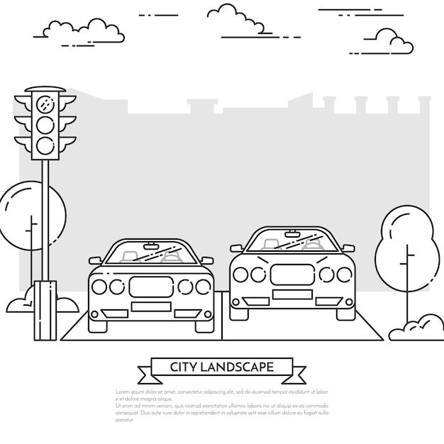 Городской пейзаж с современными автомобилями на дороге возле светофора в стиле арт-линии. Premium векторы
