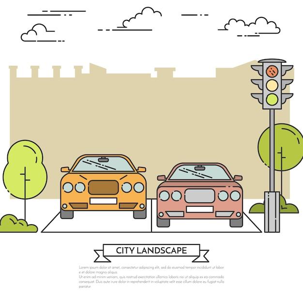 Городской пейзаж с современными автомобилями на дороге возле светофора. Premium векторы