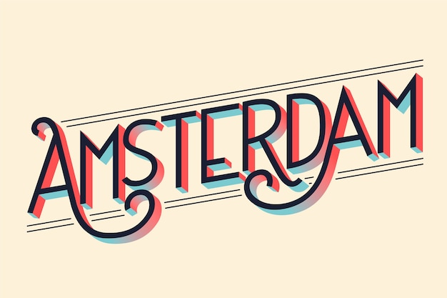 City lettering amsterdam concept Free Vector