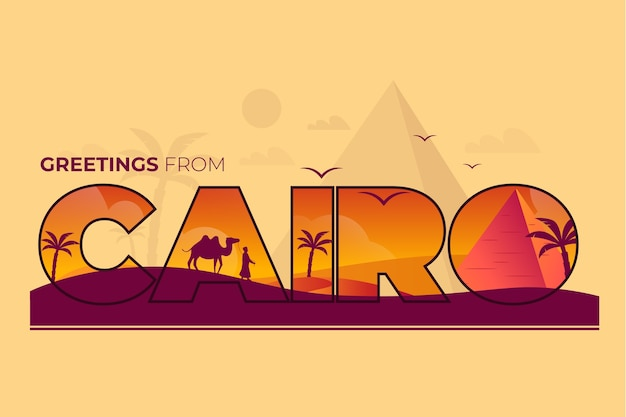 City lettering cairo with camels Free Vector