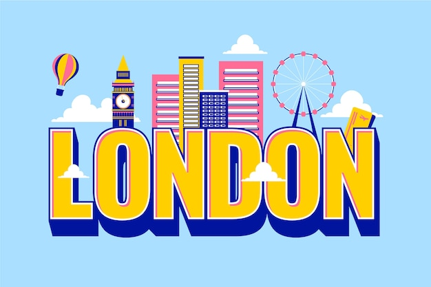 City lettering london with hot air balloon Free Vector